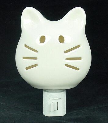 Tuxedo Kitty White Cat Porcelain Ceramic Night Light Whiskers Light Up Too Cute!