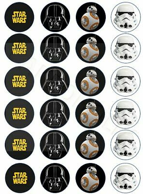 Star Wars With Darth Vader BB8 Stormtrooper 24 x Edible Cup Cake Cupcake Toppers