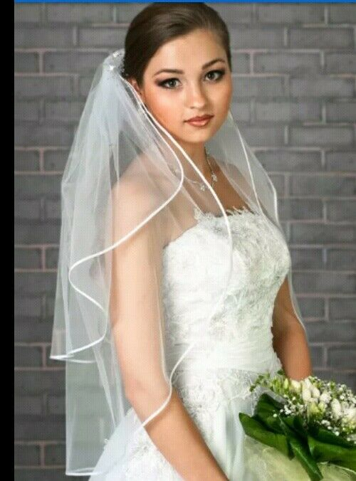 White Bridal Wedding Veil 2 Tier with Comb Elbow Length Ribbon Edge