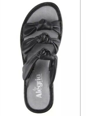NEW Alegria Lilia Black leather triple Knot strap 39 (8.5-9)wedge sandal LIL-601 - Knot Wedge Sandal
