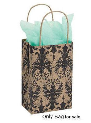 25 Bags Small Distressed Damask Kraft Print Paper Shopping Bag 5x3 X8