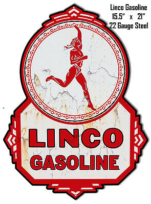 Linco Gasoline Laser Cut Out Reproduction Metal Sign 15.5x21