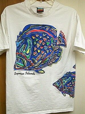 CAYMEN ISLANDS Psychedlic Colorful FISH CYRK BEAUTIFUL 1990 L SHIRT Cayman. image