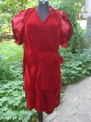 1940's WW2 FASHION VINTAGE RED VELVET NIGHT GOWN DRESS