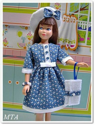 SEPTEMBER DAYS~30s Repro~4pc SCHOOL DRESS~Beret~Purse~Fits Vtg Skipper~Handmade