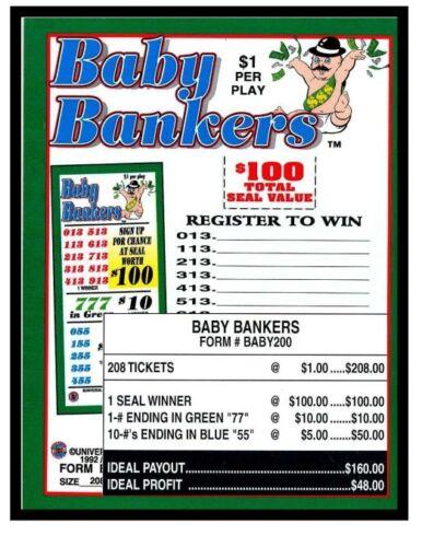 """ Baby Bankers"" $1 5W Pull Tab 208 Tkts seal card bingo tip"