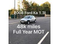 48k miles! £675 2008 Ford KA 1.3l* like fiesta punto micra corsa c1 aygo 107 picanto getz polo