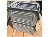 VINTAGE METAL STACKING BOXES TOTES PANS BINS LAGER FIX TOOL STORAGE TRAY PLANTER CRATE