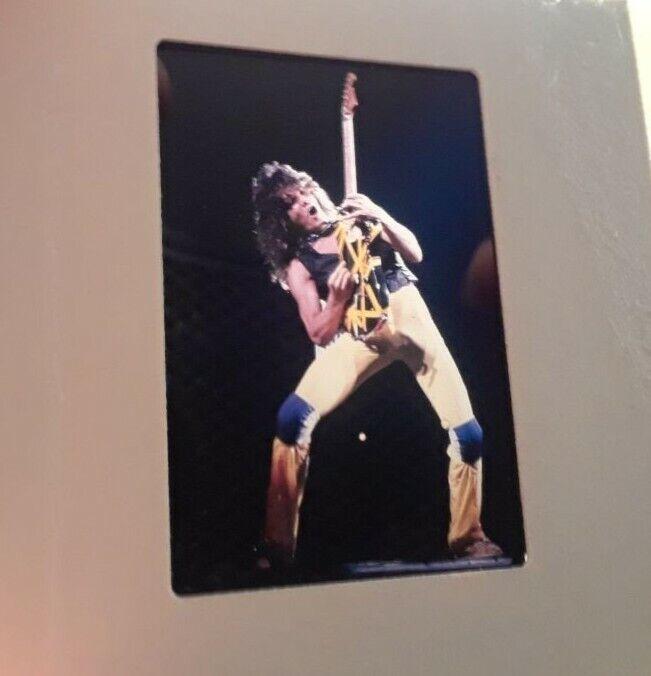 Eddie Van Halen YELLOW BLACK Guitar Never Published Pro Slide Photo make poster