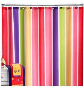 Fabric Little Miss Matched Super Stripe Bright Colors Shower Curtain Ebay