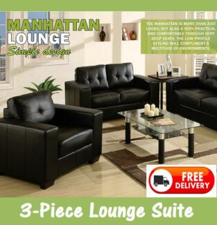 BRAND NEW 3-Piece BLACK PU Leather Lounge Suite – DELIVERED FREE New Farm Brisbane North East Preview