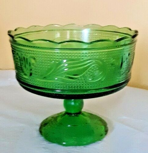Vintage Midcentury Modern Green Glass Candy Dish/ Dish/ E.O. Brody Cleveland