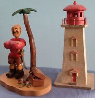 LOCALLY CRAFTED WOODEN LIGHTHOUSE TEALIGHT or PIRATE with TREASU