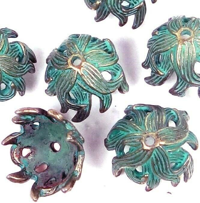 8 Antique Bronze Pewter Green Patina Petal Flowers Caps Beads 15mm