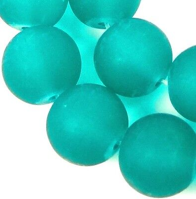 25 Frosted Sea Glass Round Beads 10mm Matte - Sea Green