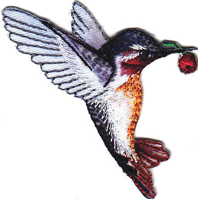 Hummingbird w/Red Berry Birds Iron On Embroidered Applique Patch