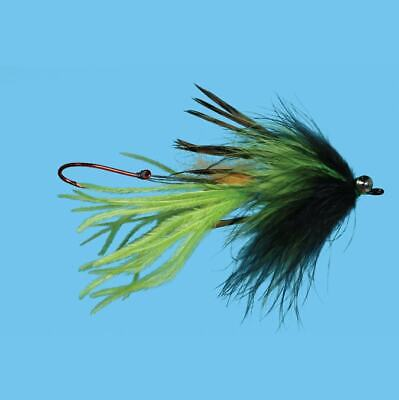Aqua Flies USA Jerry French WAKER MAKER Aqua Flies black chartreuse