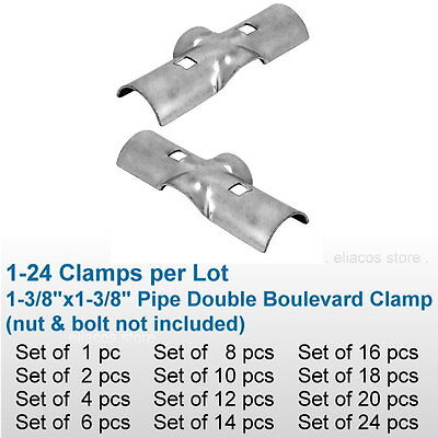 """1-3/8"""" Chain Link Fence Line Rail Double Boulevard Clamp X Bracket Pipe Fitting"""