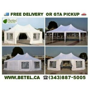 For Sale | 30x20 • 22x16 • Decagonal • Octagonal Wedding Party Marquee High Peak Tent | From $499