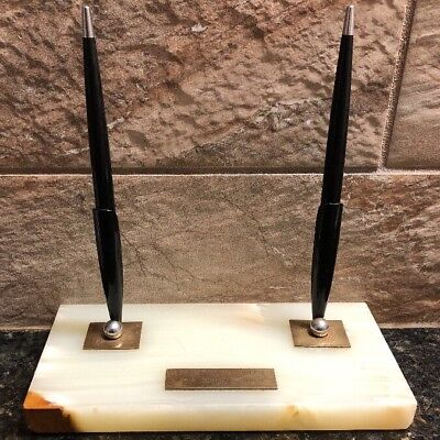 Vintage 1950's Marble Slab Dual Pen Holder W/ 2 Parker 51 Special Fountain Pens