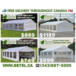 For Sale | 40x20 • 32x20 • 32x16 • 20x20 Heavy Duty Wedding Party Tents | From $699