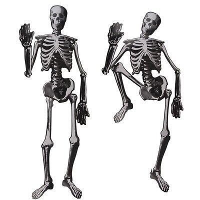 2x Halloween-Deko Dekoration Papier-Skelett ca. 135 cm zum Aufhängen Helloween