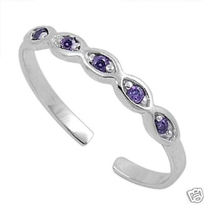 Adjustable Infinity Toe Ring with CZ Sterling Silver 925 Jewelry Gift Amethyst