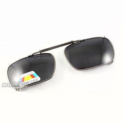 Polarized Square Sunglasses Full-Rim Frame Stretch Spring Clip-on on Eyeglasses ()