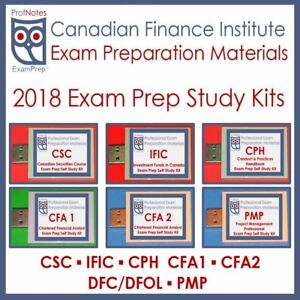 Exam Prep (Textbooks) CFA-CSC-IFIC-IFC-PMP-CPH-DFC-CPA-OREA