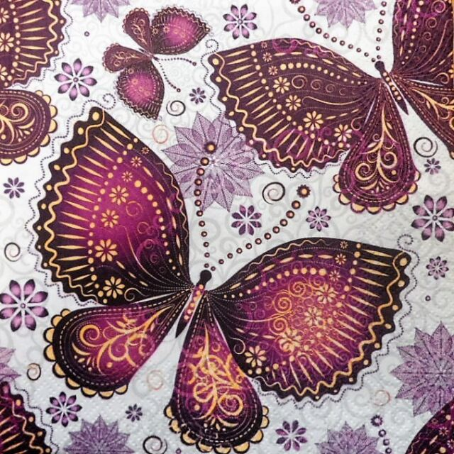 4 x single  PAPER NAPKINS TABLE PARTY ethnic  butterflies DECOUPAGE AND CRAFT 9