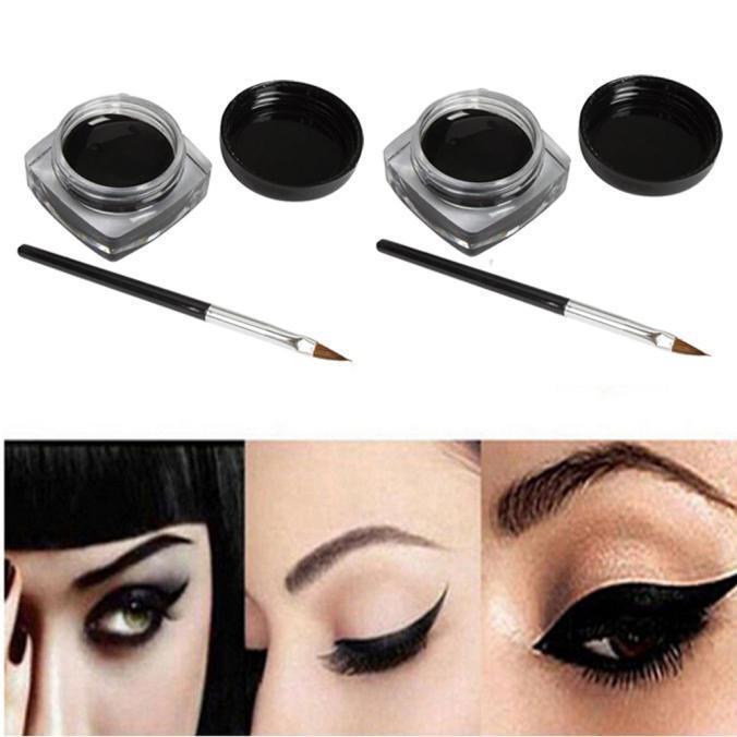 2 PCS Mini Eyeliner Gel Cream With Brush Makeup Cosmetic Black Life Waterproof k