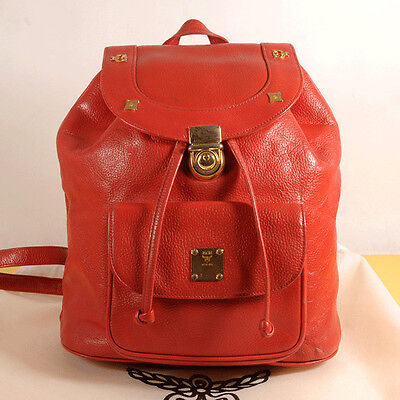 MCM Black Red Leather Backpack Authenticity + Dust Bag
