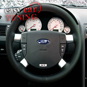 FOR FORD GALAXY MK2 2000-2006 BLACK REAL GENUINE LEATHER STEERING WHEEL COVER