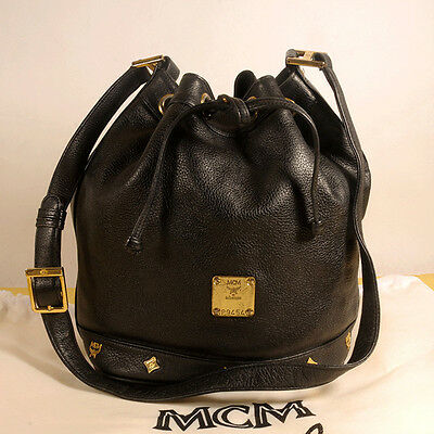 AUTHENTIC MCM Black Leather Drawstring Shoulder Cross body Bag + Dust Bag