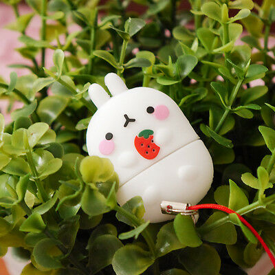 Molang Cute 3D Character 8GB USB Flash Memory Stick Drive earcap - strawberry