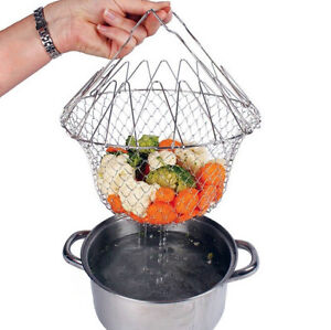 Wire mesh collapsible chef basket for rinsing, drainage