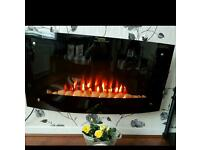 Black electric wall fire