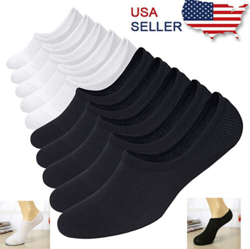 3-12 Pairs Men Invisible No Show Nonslip Loafer Low Cut Solid Cotton Socks Clothing, Shoes & Accessories