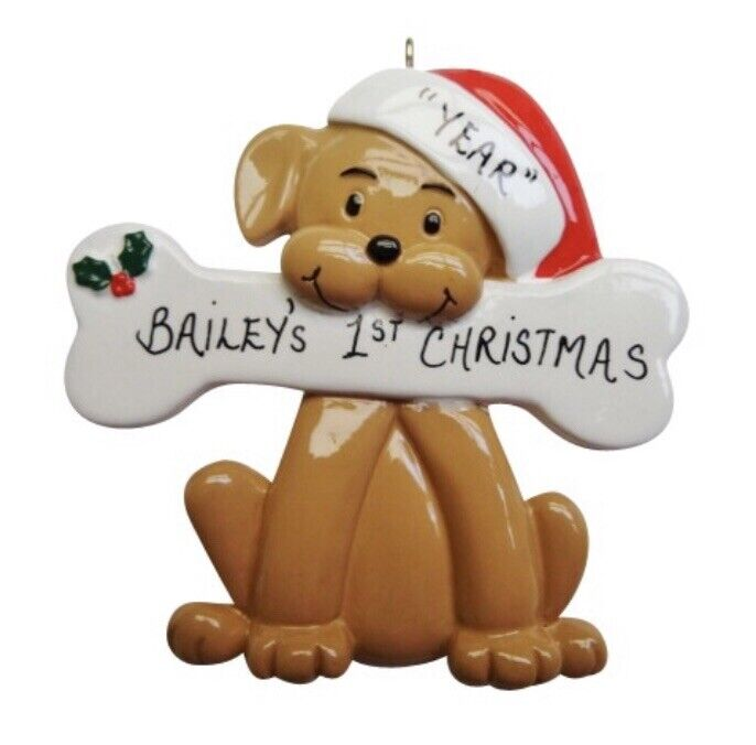 Personalized Dog with Bone Christmas Ornament