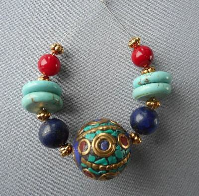 9 beads focal set -18mm Nepalese Bead with lapis lazuli, Coral & Turquoise beads