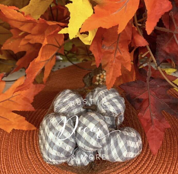 New Set of 6 MINI Fall GRAY Buffalo Plaid ✔ Pumpkins Tabletop Decor Vase Filler