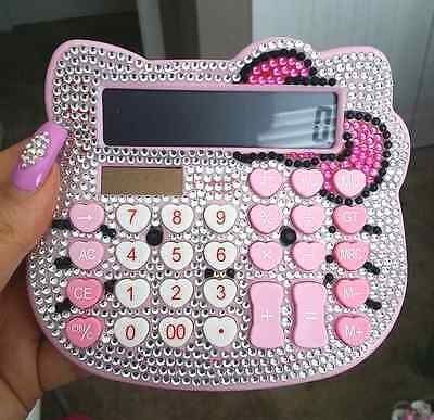 Hello Kitty Girl Calculator Digit Sanrio Pink Luxury Rhinestone Crystal Diamond