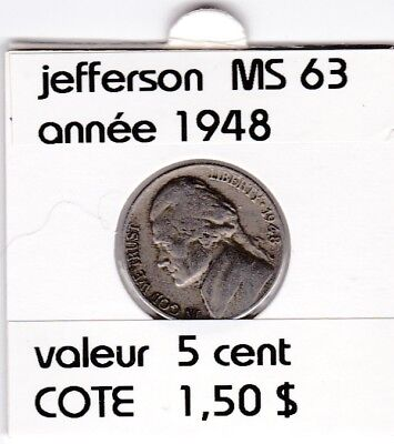 e2 )pieces de 5 cent  1948        jefferson