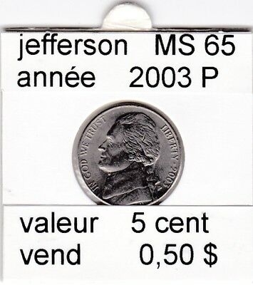 e3 )pieces de 5 cent 2003 P  jefferson