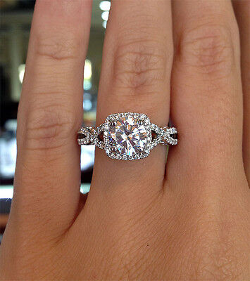 2.80 Ct. Natural Round Cut Twisted Pave Diamond Engagement Ring - GIA Certified