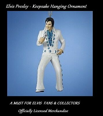 White Concho Suit Elvis Presley Holding Microphone Keepsake Hanging Ornament - Elvis Presley White Suit