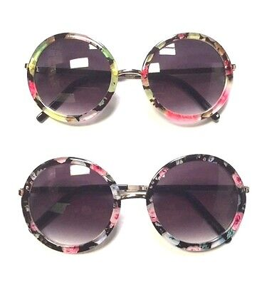 Round Shaped Floral Print Women Sunglasses with Flower Design (Flower Shaped Sunglasses)