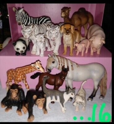 MIXED LOT of 16 RETIRED SCHLEICH AmLimes 69 D-73527 Animal Figures. Great Deal!