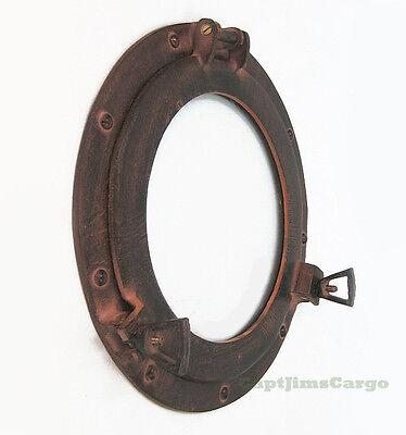 Ships Porthole Glass Window Aluminum Brown & Rust Finish 12