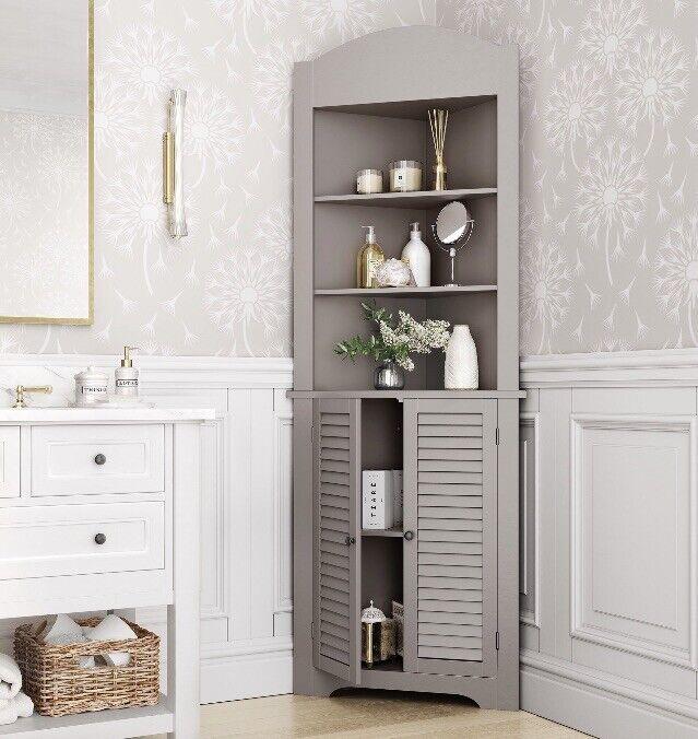 Corner Cabinet Bathroom Shelves Storage Organizer Tall Kitchen Hutch Gray Taupe